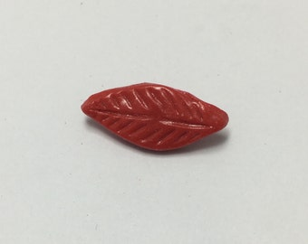 Long Leaf - Scarlet Red - Hand Made Clay Button
