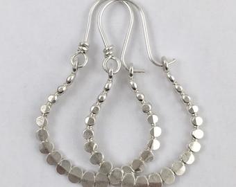 Beaded Handmade Sterling Silver Earrings Hoops Hammered Flat