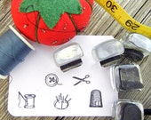 Tiny Sewing Rubber Stamps - Set of 5 - thread, thimble, button, scissors, pincushion - Handmade by BlossomStamps