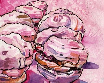Macaron Painting - Watercolor and Ink Art of Macarons - Original Dessert Painting for Bakery by Jen Tracy