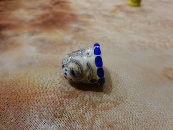 Lampwork Art Glass Collectible Thimble, OOAK, SRA, Signed