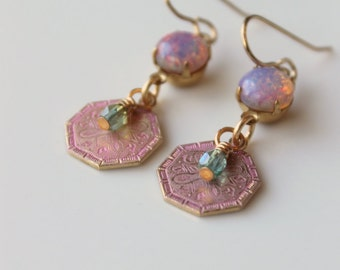 Petal Pink Dangle Earrings / Pink Patina Raw Brass / Harlequin Opal Vintage Glass / Boho Chic Summer Earrings / Pink and Aqua Earrings