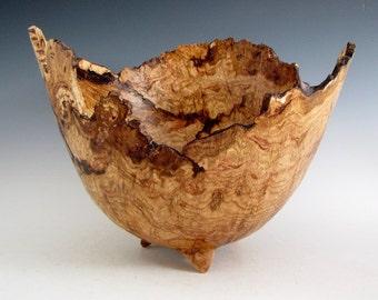 Rustic Oak Burl Wood Turned Bowl - Housewarming Gift - Wedding Gift- Hand Made Wood Bowl - Artistic Wood Bowl - Wooden Centerpiece