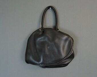 Vintage Black Leather Purse, Asymmetric front flap, 1960s Satchel Pouch