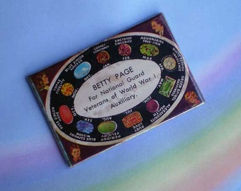 Vintage 20s Birthstone Celluloid Advertising Pocket Mirror WWI Veterans Auxiliary
