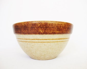 small rustic bowl wheat and brown treasure craft pottery made in USA