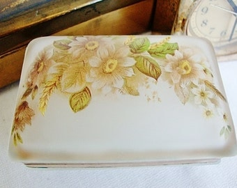 vintage satin glass trinket box floral design frosted glass jewelry box