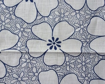 NOW ON SALE vintage fabric - Blue Dot Floral - cotton/linen - almost 1 yard - 36x32 inches