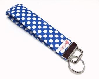 Blue and white polka dot keychain, key fob, key wristlet, key holder, key chain.  White polka dots on bright blue.
