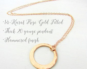Rose Gold Washer Necklace, Hammered 14K Rose Gold Filled Circle Pendant, Cable Chain, Simple, Elegant Wedding Party Jewelry by Eriadesigns