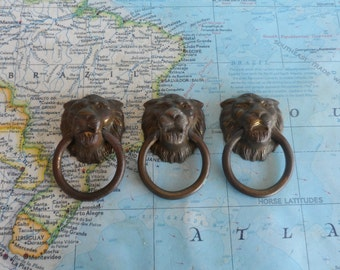 SALE! 3 vintage brass lion's head open metal pulls