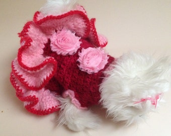 XS Pink & Red Wool Hand Knit  Sweater Dress Chihuahua Dog Clothes Yorkie Maltese Small Dog