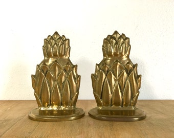 Pair of Vintage Brass Pineapple Bookends