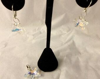 Swarovski Starfish Crystal AB Pendant and Earrings Set