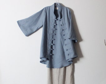 ready to wear size M icy blue heavy linen jacket