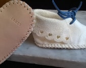 Personalized - All Leather Baby Moccasins - For 3 Month Old Babies