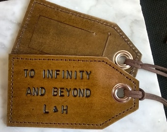 His and Hers - To Infinity and Beyond - set of 2 - luggage tags with privacy flap on reverse side