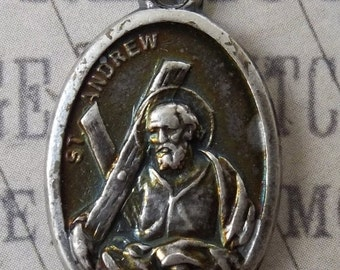HUGE SALE Saint Andrew Holy Italian Silver Medal With Cross, Patron Saint of Fisherman, Russia, Catholic Medallion, Pray For Us