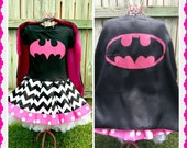 girls BatGirl dress Bat Girl dress 2T 3T 4T 5T 4/5 6/6X 7/8 10/12 and 14/16 ready to ship