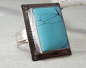 OOAK Turquoise Ring Sky Blue Turquoise Ring Size 7.5 Sterling Silver