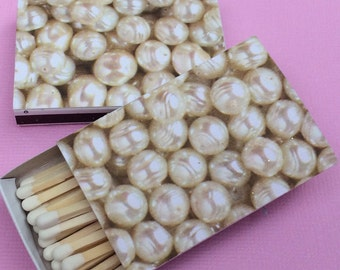 10 Wedding Party Favor Matchboxes Cream Pearls