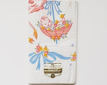 "Deadstock Vintage Rectangular Baby Shower Table Crepe Paper Cloth with Stork and Baby in an Umbrella by Reed's Rembrandt Line | 54"" by 96"""