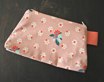 Handmade Pouch Zipper Bag Cotton and Steel Pink Floral Print Small Project Bag Notions Bag Makeup Bag