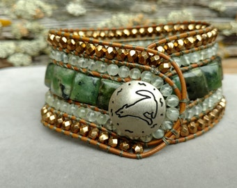 Green Gemstone Woven Leather Cuff Bracelet, Beaded Leather Cuff,  Boho, Wolf Coyote Totem, Beaded Leather Cuff, Moss Agate, Prehnite FOREST