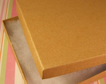Pre Holiday Stock Up Sale 100 Pack Cotton Filled Kraft Brown Color Jewelry Gift and Retail Boxes 6.25 X 5.5 X 1 Inch Size