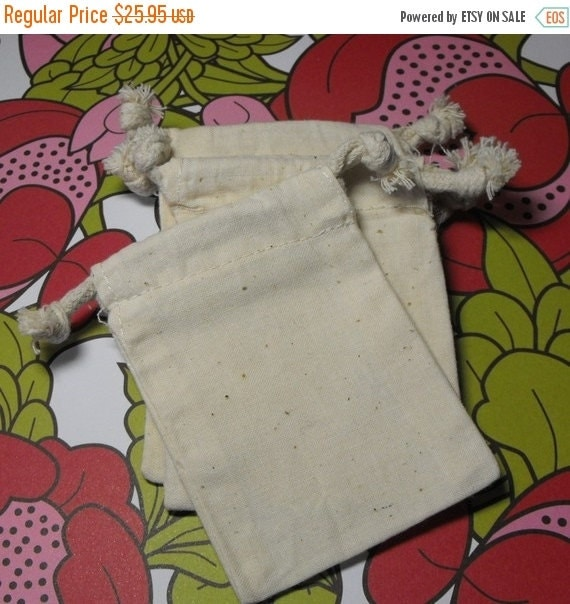 Summer Stock Up Sale 60 Pack Drawstring 3X4 Inch Natural Muslin Bags great for Gift Wrapping, Reusable Tea bags, or Sachets