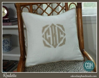 The Roulette Applique Framed Monogrammed Pillow Cover - 18 x 18 square