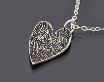 Budding Heart Necklace, Etched Sterling Silver Heart Pendant, Valentine's Day Gift