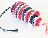 Knit Catnip Mouse Cat Toy in Red, White, and Blue Cotton Yarn
