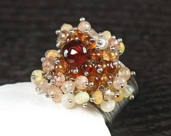 Mozambique Garnet, Spessartite, Hessonite Garnet, Sunstone, Ethiopian Opal statement Hill tribe Silver adjustable ring ... HAZAN Ring