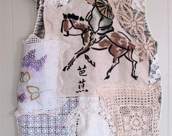 lotsa crochet VINTAGE & ANTIQUE LINENS - Wearable Folk Art Collage Clothing - Doily Doilies Embroidery Tunic Dress - myBonny