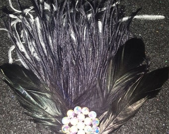 ON SALE Holiday party, Black fascinator, Pinup, 1920 headpiece, Feather fascinator, ready to ship, Christmas party,Black clip