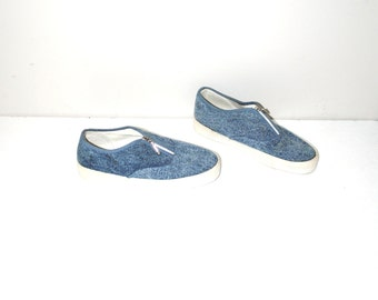 zip up denim sneakers 80s vintage running shoes pointy flats size 5