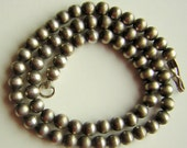 """Sterling Silver Necklace Old Pawn 7mm Round Beads 16"""" Long  / 15 grams - Stunning real Vintage"""