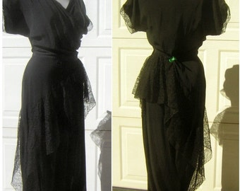 40s Emma Domb Party Lines Gown Vintage Bewitching Black Spiraling Lace Sexy Silhouette PARTY LINES Label & Wearable Size!