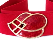 Vintage 1980's Red Elastic Belt with Marbled Teardrop Buckle, Modern Size 14 to 18, L to XL