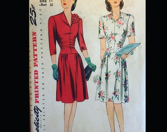 Vintage 40s Drop Waist Ruffled Revers Shirred Day Dress Sewing Pattern 4690 B32