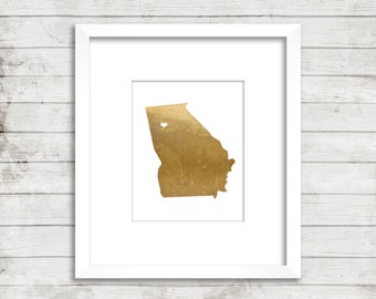 Georgia State Print, Geography Wall Art, Metallic Gold Art, Georgia Poster, Office Art Print, Home Decor, Instant Digital Download