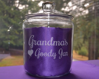 Personalized Custom Engraved 1 Gallon Glass Cookie Jar, Grandma's Goody Jar, Etched Snack Jar, Glass Candy Container, Snack Canister