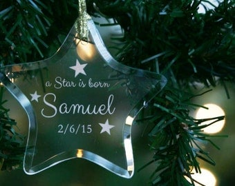Personalized Engraved Baby's First Christmas Keepsake Glass Star Ornament, 1st Holiday Ornament, Custom Ornament by Hummingbird Hill