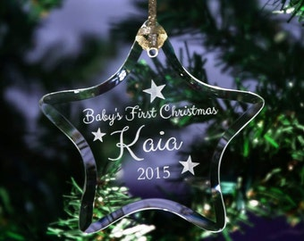Personalized Engraved Baby's First Christmas Keepsake Glass Star Ornament, Two design Options, 1st Holiday Ornament, Custom Ornament - ORN3