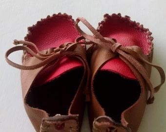 Handmade Granola Moccasins   >>Genuine Leather<<  Red