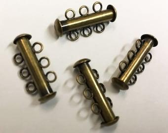 Slide Clasps Antique Bronze 3 Strand Antique Brass Slide Clasp 21mm x 6mm Slide Tubes 4 clasps F300B