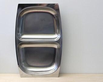 Arthur Salm Scandinavian modern AS Sweden stainless steel divided dish.