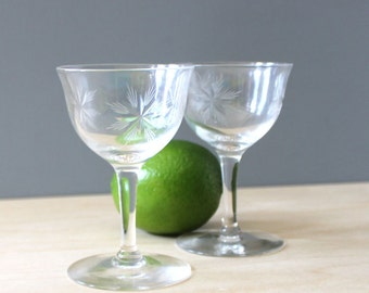 Stars. Set of two vintage sherry glasses.
