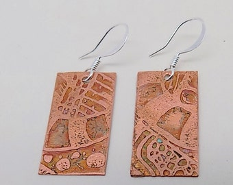 Steampunk etched copper jewelry earrings. Steampunk jewelry earrings.